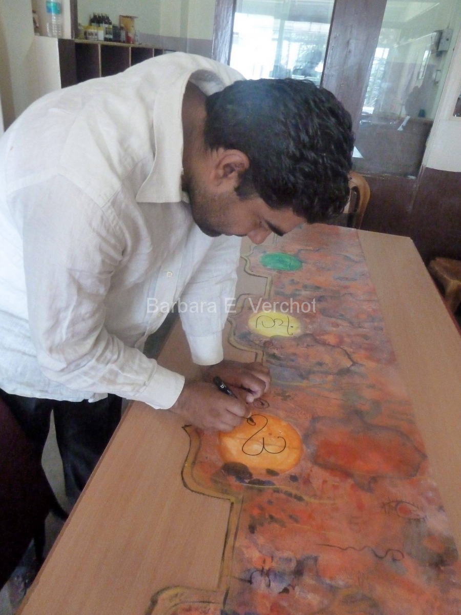 Arun had the job of writing the Sanskrit symbols for each of the chakras.